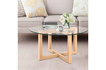 Artiss Coffee Table Tempered Glass Metal legs Round Bedside Tables Furniture