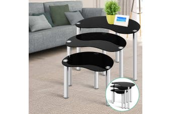 Artiss Coffee Table Nest Of Tables Side Table Tempered Glass Stainless Steel Leg