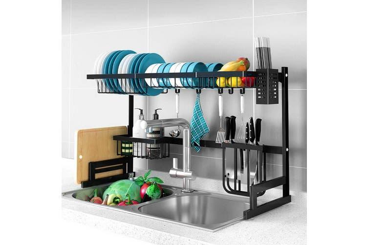 2 Tier 85cm Stainless Steel Kitchen Shelf Organizer Dish Drying Rack Over Sink Matt Blatt