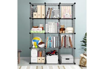 Artiss Cube Storage Wire Cabinet Metal DIY 12 Cubes Shelves Shelf Bookcase Organiser
