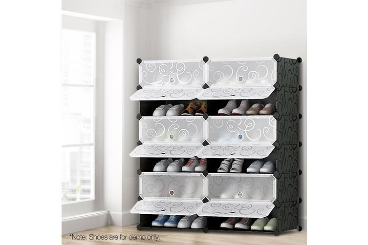 Artiss Portable Storage Shoe Organiser Cabinet DIY Stackable Rack 12 Cube Compartment