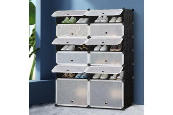 Artiss DIY Shoe Storage Organiser Cabinet Rack Portable Stackable 12-Compartment