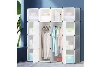 Artiss Cube Storage Cabinet 16XL Cubes DIY Shelves Cupboard Wardrobe Shoe Shelf White