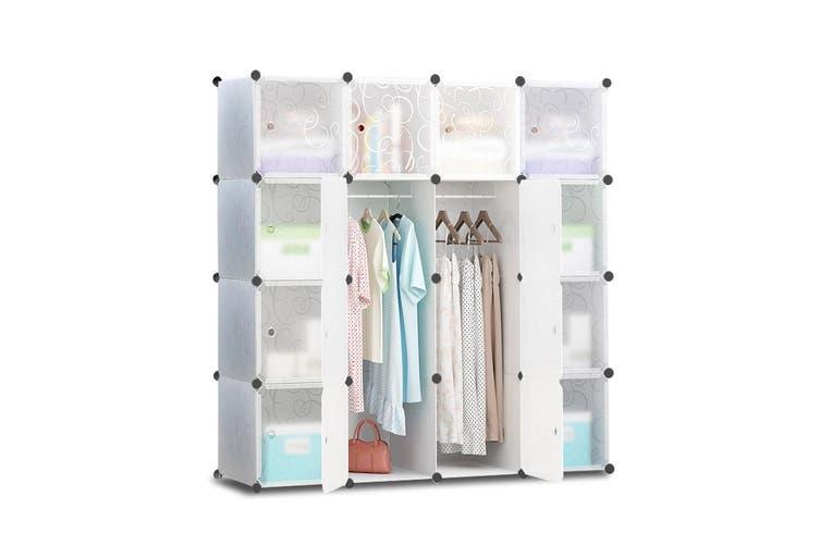 Artiss Cube Storage Cabinet 16XL Cubes DIY Shelves Cupboard Wardrobe Shoe Shelf White