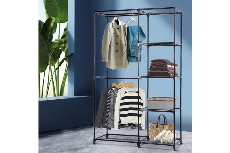 Portable Closet Organiser Storage Rack Clothes Hanger Rail Garment Shelf Rack BK