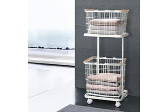 2 Tier Wire Storage Shelf Laundry Basket Hamper Metal Clothes Rack Shelves Trolley Organiser