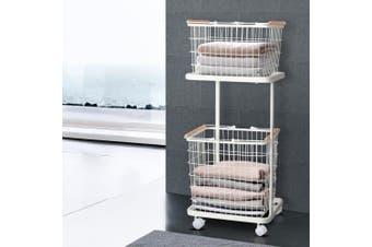 2 Tier Wire Storage Shelf Laundry Basket Hamper Metal Clothes Rack Shelves Trolley Organiser