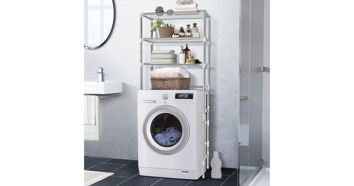 3 Tier Laundry Storage Rack Silver Matt Blatt