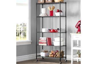 Wire Shelving Shelves Shelf Metal Rack 90cm 5-Tier Kitchen Trolley Black