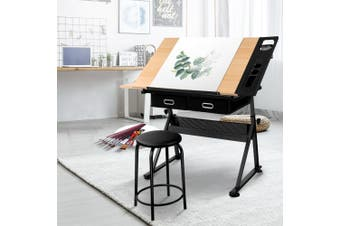 Artiss Drawing Desk With Stool Tilt Drafting Table Set Drawer Art  Craft Student