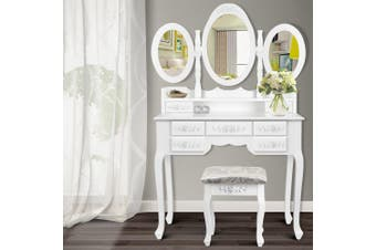 Artiss Dressing Table Stool Mirror Jewellery Cabinet 7 Drawers White Organizer