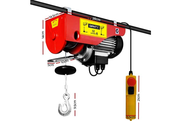 Giantz Electric Hoist Winch Crane 300/600KG Rope Tool Remote Chain Lifting Cable