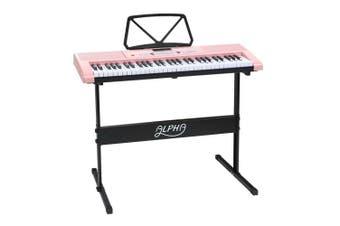 Alpha 61 Key Lighted Electronic Piano Keyboard LED Electric Music Stand