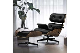 Artiss Eames Lounge Chair Ottoman Replica Recliner Chairs Armchair Leather Black