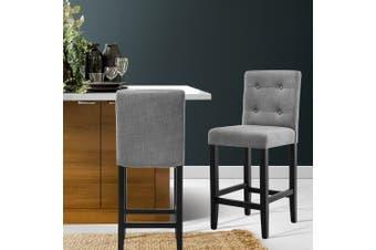 Artiss 2x Wooden Bar Stools Fabric Foam Padded Bar Stool Dining Chairs Cafe Grey