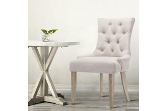 Artiss Dining Chair CAYES French Provincial Wooden Fabric Retro Cafe Chiars Beige