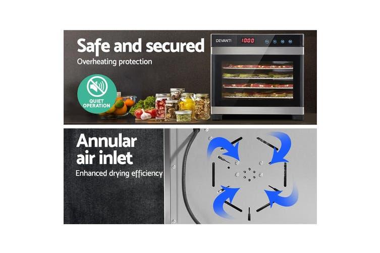 Devanti 6 Trays Food Dehydrators Commercial Fruit Dryer Dehydrator Stainless