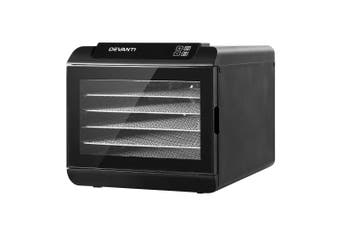 Devanti Food Dehydrator 6 Trays Fruit Dehydrators Commercial Beef Jerky Maker Dryer Touch Control Timer Black