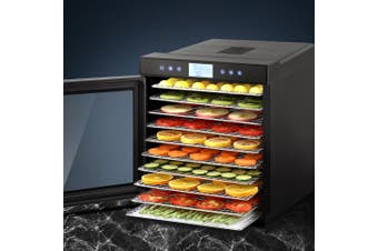 Devanti Food Dehydrators Stainless Steel Jerky Dehydrator Fruit Dryer 10 Trays