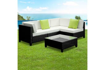 Gardeon 5 Piece PE Wicker Outdoor Sofa - Black and Grey