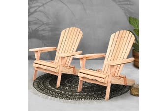Gardeon Patio Furniture Outdoor Chairs Beach Chair Wooden Adirondack Garden Lounge 2PC