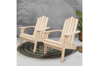 Gardeon Patio Furniture Outdoor Chairs Beach Chair Wooden Adirondack Garden Lounge Recliner 2PC Beige