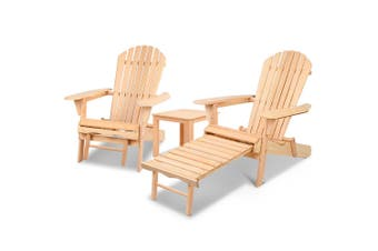 Gardeon Outdoor Chairs Patio Furniture Wooden Sun Lounge Beach Adirondack Garden