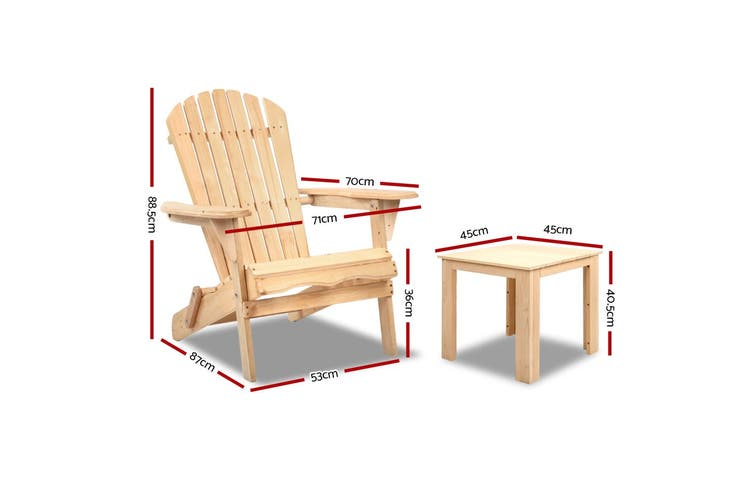 Gardeon Outdoor Chairs Table Set Patio Furniture Beach Chair Lounge Adirondack