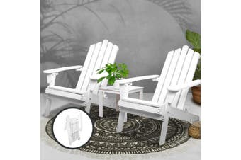 Gardeon 3pc Outdoor Furniture Setting Table and Chairs Wooden Patio Lounge Indoor Adirondack Chair Garden