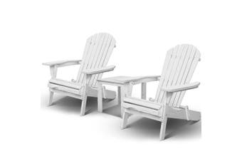 Gardeon Outdoor Lounge Patio Furniture Chairs Table Set Wooden Beach Adirondack