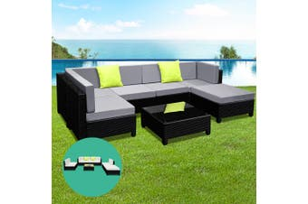 Gardeon Outdoor Lounge Setting Furniture Sofa Set Wicker Rattan Patio Garden 7PC