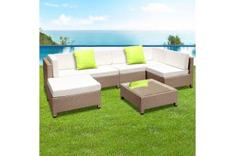 Gardeon 7pc Outdoor Sofa Set Lounge Setting Wicker Patio Furniture Garden Brown