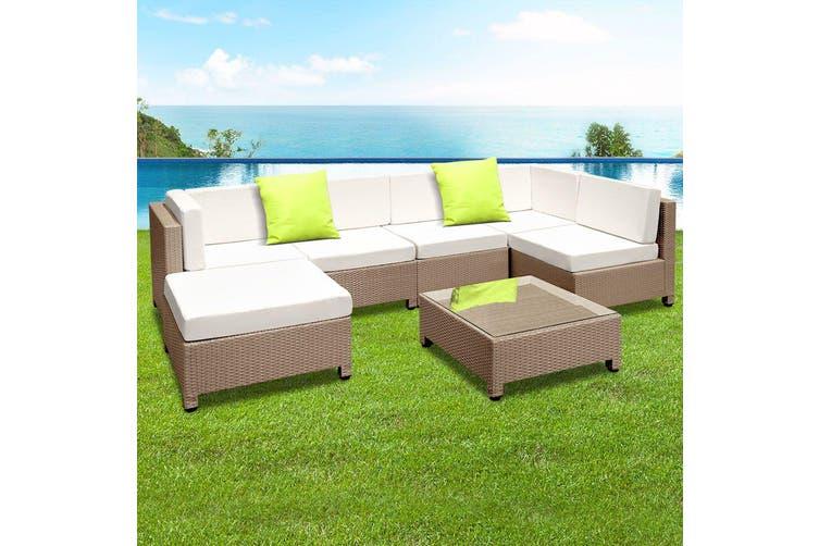 Gardeon 7pc Outdoor Sofa Set Lounge Setting Wicker Patio Furniture Garden Brown