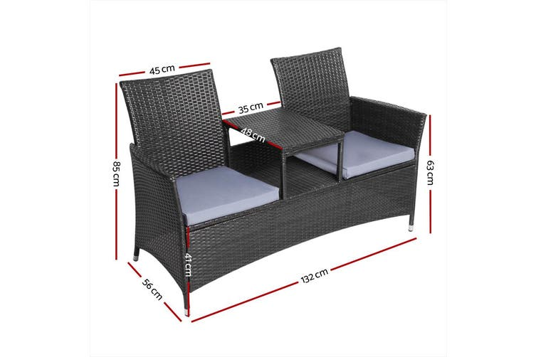 Gardeon Patio Furniture Outdoor Bench Garden Setting Wicker Chair Table 2 Seat