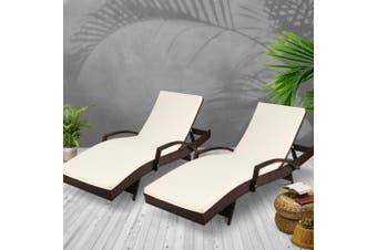 Gardeon 2pc Sun Lounge Outdoor Furniture Day Bed Rattan Wicker Lounger Patio