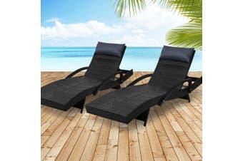 Gardeon Sun Lounge Outdoor Furniture Wicker Lounger Rattan Day Bed Garden Patio Black