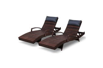 Gardeon Sun Lounge Setting Rattan Wicker Lounger Outdoor Furniture Garden Patio