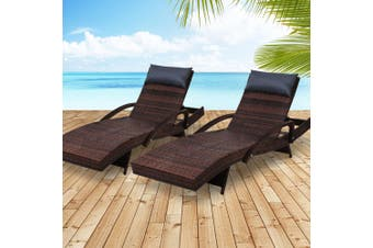 Gardeon Sun Lounge Outdoor Furniture Wicker Lounger Rattan Day Bed Garden Patio Brown
