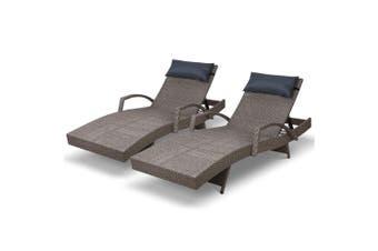 Gardeon Sun Lounge Setting Rattan Wicker Day Bed Outdoor Furniture Garden Patio