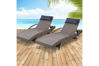 Gardeon Sun Lounge Outdoor Furniture Wicker Lounger Rattan Day Bed Garden Patio Grey