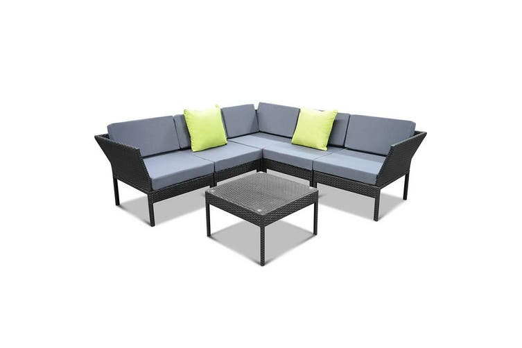 Gardeon 6pc Outdoor Sofa Set Lounge Setting Wicker Patio Furniture Garden Black