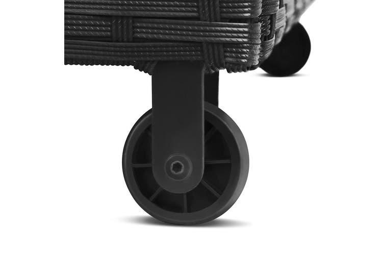 Gardeon 320L Garden Shed Toy Tool Storage Box Outdoor Bench Ottoman Wicker Black