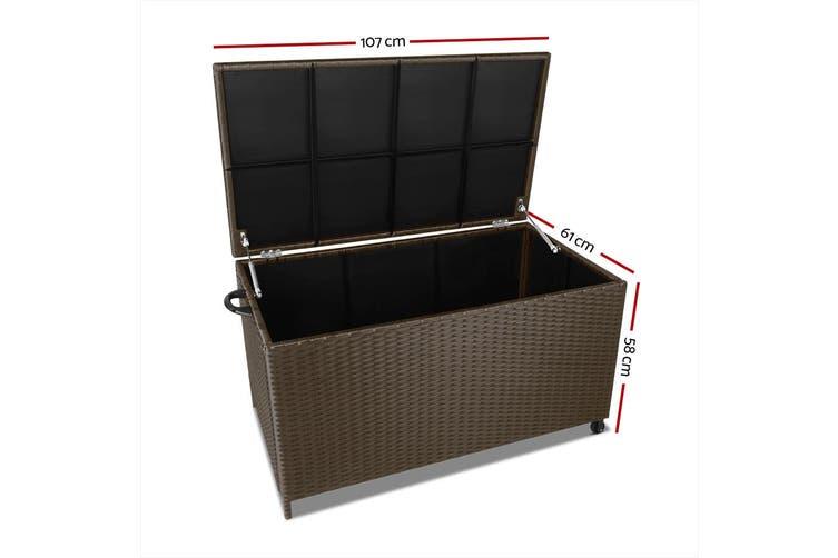 Gardeon 320L Garden Shed Toy Tool Storage Box Outdoor Bench Ottoman Wicker Brown