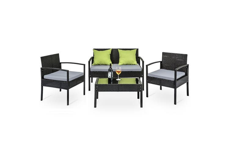 Gardeon 4 Seater Sofa Set Outdoor Furniture Lounge Setting Wicker Chairs Table Rattan Lounger Bistro Patio Garden Cushions Black