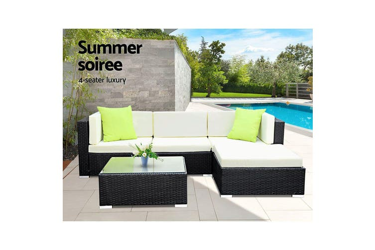 Gardeon 5pc Outdoor Lounge Setting Wicker Sofa Set Patio Garden Furniture Rattan