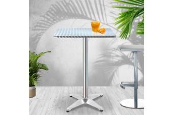 Gardeon Bar Table Outdoor Furniture Adjustable Aluminium Pub Cafe Indoor Square