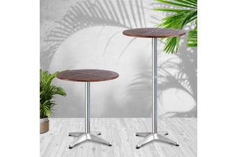 Gardeon Outdoor Bar Table Furniture Wooden Cafe Table Aluminium Adjustable Round