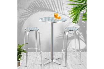 Gardeon Outdoor Bistro Set Bar Table Stools Adjustable Aluminium Cafe 3 PC Round