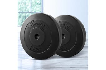 Everfit 2X 10KG Barbell Weight Plates Standard Home Gym Press Fitness Exercise Weights