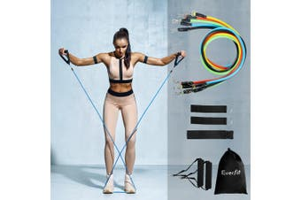 11 PCS Resistance Bands Set Yoga Pilates Abs Exercise Fitness Tube Workout Band